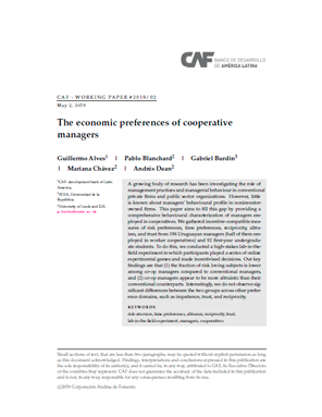 The Economic Preferences of Cooperative Managers
