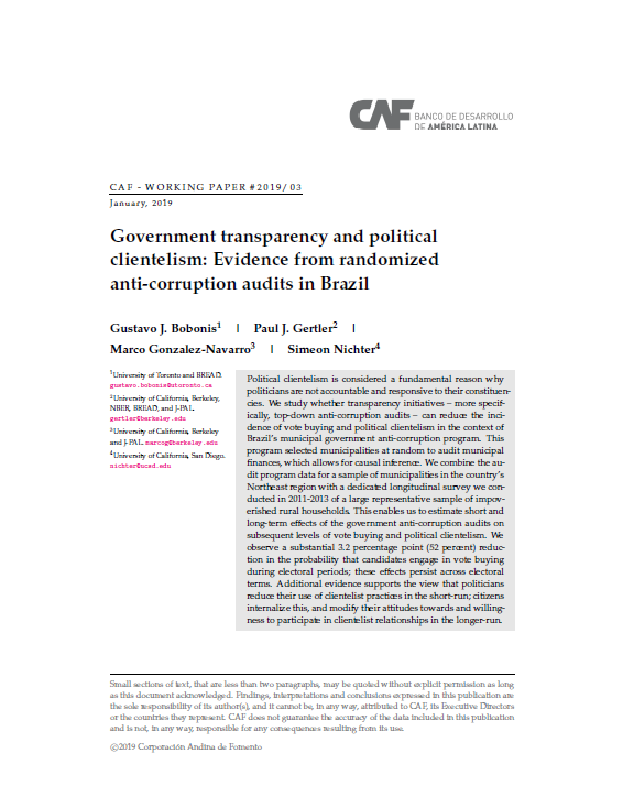 Government transparency and political clientelism: Evidence from randomized anti-corruption audits in Brazil