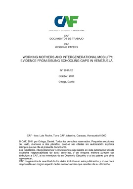 Working mothers and intergenerational mobility: evidence from sibling schooling gaps in Venezuela